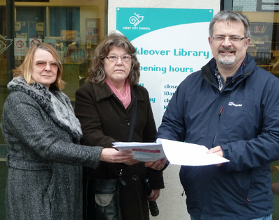 Cllr Hilary Jones and Mickleover campaigners Maggie Hird and Peter Barker at Mickleover Library