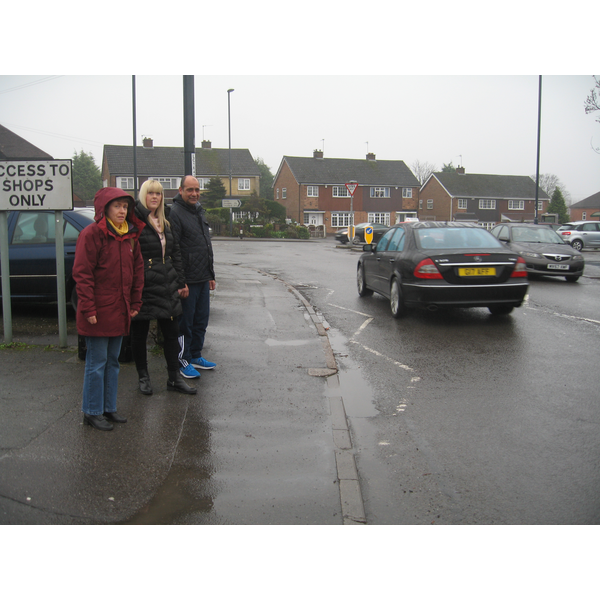 Cllr Ruth Skelton, Danielle Lind and Cllr Joe Naitta at Blagreaves Lane End looking to see how a dedicated left turn lane could work