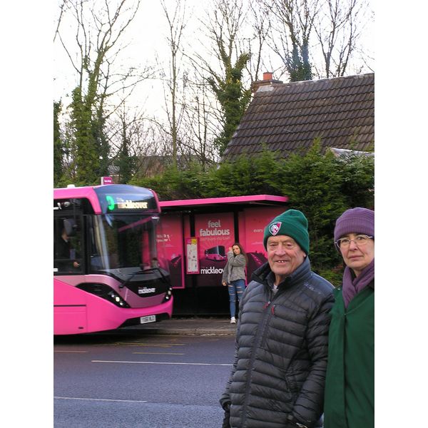 Cllr Mike Carr and Cllr Lucy Care visiting a bus stop