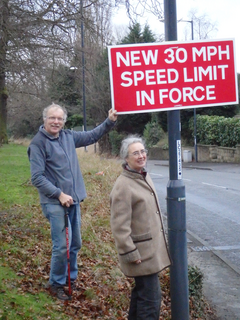 Cllr Eric Ashburner and Cllr Lucy Care Welcoming Reduced Speeds on Pastures Hill