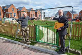 Cllr Eric Ashburner and Cllr Mike Carr visiting the closed play area