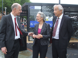 Bill Newton-Dunn, Lucy Care and George Smid at Derby Station