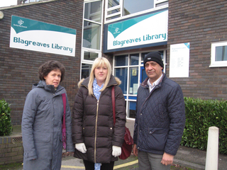 Cllr Ruth Skelton, Danielle Lind and Cllr Joe Naitta visit Blagreaves Library