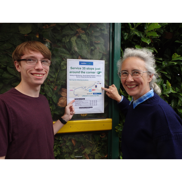Cllr Lucy Care and Tom Bull at the No. 35 Bus Stop