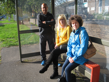 Cllr Ruth Skelton, Cllr Ruth Skelton and Danielle Lind at a local bus stop