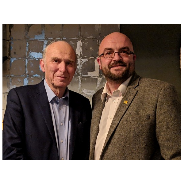 Lib Dem leader Sir Vince Cable MP and Derby North Lib Dem spokesperson Barry Holliday