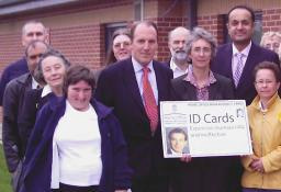 Lucy Care with Liberal Democrat President Simon Hughes MP and other opponents of ID cards