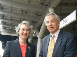 Cllr Lucy Care and Derby's Liberal Democrat MEP Bill Newton-Dunn at Derby Rail Station