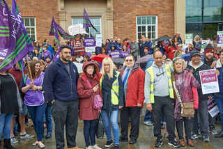 Derby Liberal Democrats protesting at cuts to Teaching Assistants pay with Teaching Assistants and Unison Trades Union