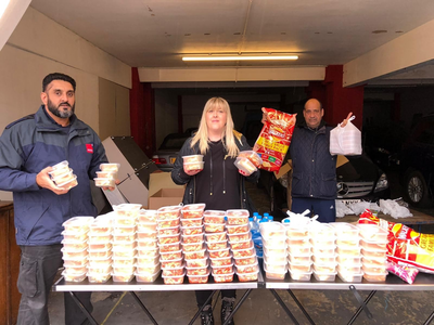 Cllrs Ajit Singh Atwal, Danielle Lind and Joe Naitta distributing food to Derby families during half term