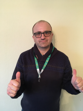 Cllr Steve Willoughby wearing his hidden disability Sunflower lanyard