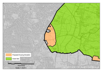 Proposed reallocation of green belt for housing to west of Acorn Way, Oakwood, Derby (Crown copyright and database rights 2021 Ordnance Survey 100019826)