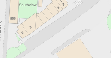 Plan of Southview shops in Littleover and the pavement and road area (Crown copyright and database rights 2021 Ordnance Survey 100019826)